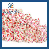 Heart Design Pink Paper Gift Bag with Ribbon