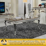 870# Square Marble Top Stainless Steel Coffee Table for Sale