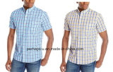 Custom Stripe Cotton Mens Short Sleeve Shirt