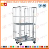 Warehouse Folding Steel Storage Cage Metal Security Roll Container (Zhra34)