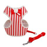 Stripe Bowtie Dog Harness with Leash, Pet Supply