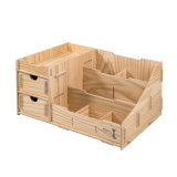 Wooden DIY Desktop Office Stationery Organizer with Drawers
