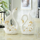 Craft Bone Color Swan Shape Porcelain Decoration Ceramic Crafts Art