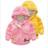 Western Style Cat Applique Down Jacket for Little Girls