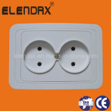 EU Style Flush Mounted Double Wall Socket Outlet (F2209)