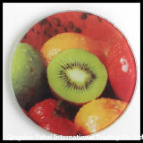 Round Tempered Glass Coaster with Fruit Decal Pattern
