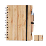 Customized Spiral Bamboo Cover Notebook with Bamboo Pen
