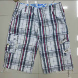 Polyester-Cotton Printed Grey and Red Men's Leisure Short Pants