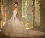 Classic Strapless Lace Satin Bridal Cathedral Train Wedding Dress H13376