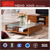 Office Furniture Glass Top Melamine Coffee Table (HX-CT0058)