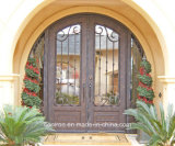 Arc Top Exterior Ornamental Entry Door with Sidelight for Villa