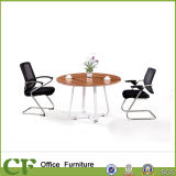 Wood Round Office Small Tea Table with Metal Frame