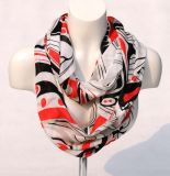 Women′s Bamboo Printing Spring Autumn Summer Woven Beach Cover Shawl Snood Loop Scarf (SW128)