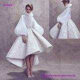 New Fashion Elegant Balloon Sleeves High Neckline Wedding Gown with Tea Lengh Flare Skirt