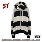 Popular Back and White Striped Pullover Hooded Male Leisure Clothes
