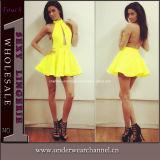 Hot Selling Halter Backless Cut out Skater Mini Dress (4115)