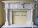 Beige Marble Flower Carved Fireplace for Indoor Decoration