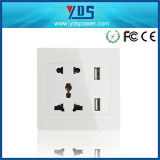 13A Multi Socket with 2 USB 2.1A Charge Port Wall Power Swithed USB Socket