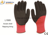 Acrylic Shell Napping Lining Latex 3/4 Coated Safety Work Glove (L1505)