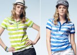 Women Polo Short Sleeve T-Shirt, Striped T-Shirt (AZRT-011)