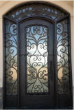 Decoration Black Galvanized Power Coated Wrought Iron Entrance Door/House Main Steel Glass Gate/Steel Glass Door