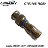 Waterproof CCTV Male Compression BNC Connector for Rg59 Cable (CT5078S/RG59)