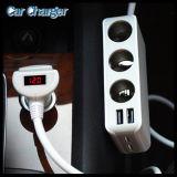 4 USB Port 6.8A and 3 Cigarette Lighter Hub Socket Quad Outlets 12V~24V Adapter Car Charger
