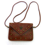 Rivets Brown Small with Lining Sling Bag