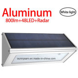 Solar Wall Light Outdoor Aluminium Alloy 48 LED Microwave Radarmotion Sensor Waterproof Lamp for Garden