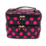 Double Layer Cosmetic Bag Black with Pink DOT Travel Bag