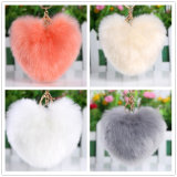 Christmas Gift for Girls Heart Shaped Key Ring Faux Fur Key Chain