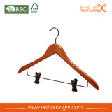 Functional Style Light Wooden Suit Hanger with Metal Clips (MC016)
