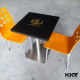 Square Solid Surface Black Restaurant Table with Logo (170929)