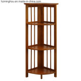 Factory Outline Stylish Foldable Oak Wood Storage Display Corner Shelf