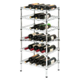 Supermarket Adjustable 6 Tiers Chrome Metal Wine Display Rack
