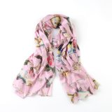 Fish & Flower on Pink Fashion Gift Scarf