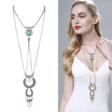 Fashion Necklace Jewelry Dream Catcher Turquoise Tassel Alloy Long Pendant Necklace