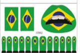 Brazil World Cup Soccer Flag Face Tattoo Stickers Art Tattoo