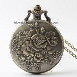 Analog Quartz Lady Pocket Watch with Flower