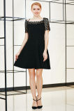 Solid Elegant Swing MIDI Dress with Lace York and Sleeve