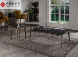 Round Coffee Table with Nature Marble Top and Steel Leg