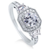 Sterling Silver Round Cubic Zirconia CZ Ring Jewelry for Women