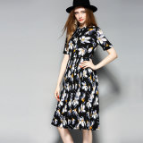 Floral Print Pleated Lace-up Collar Women Party Dress with Button-Down