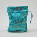 Turquoise Purple Green Red Jacquard Drawstring Bag with Print