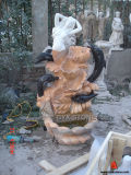 Marble Fountain with Dolphin and Woman Sculpture for Garden Decoration