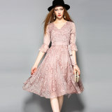 Puff Sleeve Floral Printed Elegant Dress for Women with Belt