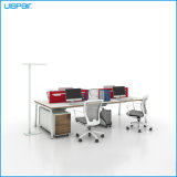 Uispair Modern High Quality MFC Board Telescopic Beam Staff Office Table White Workstation Office Furniture