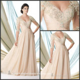 Champagne Scoop Half Sleeves Lace Chiffon Bridal Dress Yao38