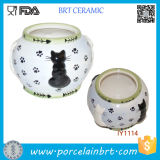 Lovely Four Black and White Cats Ceramic Fish Bowl