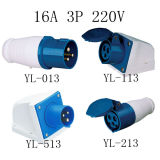 16A 2p+E 220-250V 3pin Industrial Plug and Socket Blue Nylon PA66